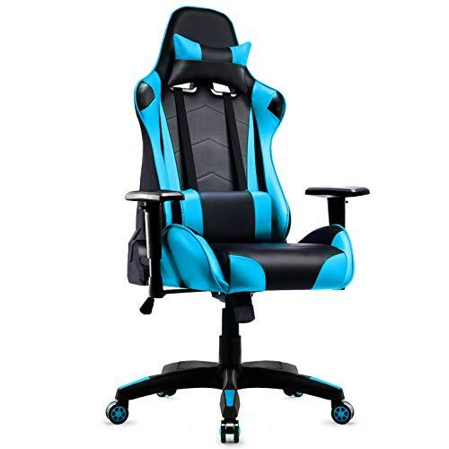 Racing Hochwertiger Bürostuhl Gaming Stuhl, Ergonomischer höhenverstellbar Schreibtischstuhl Chefsessel Computerstuhl Drehstuhl mit einstellbaren Armlehnen, Kunstleder PU Sportsitz Game Chair (Blau)