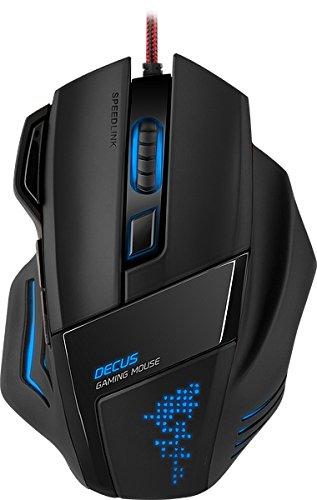 Speedlink Programmierbare Gamer Maus für PC / Computer - Decus Gaming Mouse USB (Laser-Sensor, bis zu 5000 DPI - dpi-Schalter und Rapid-Fire-Taste - Volle Individualisierbarkeit) Ultimative Ergonomie schwarz