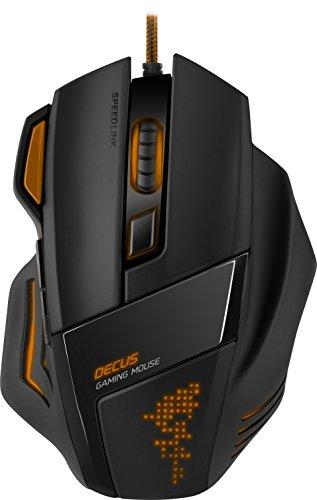 Speedlink Decus Gaming Mouse USB - Programmierbare Gamer Maus für PC (Laser-Sensor, bis zu 5000 DPI - dpi-Schalter und Rapid-Fire-Taste) Ultimative Ergonomie orange/schwarz