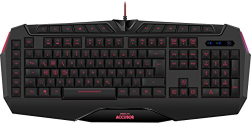 Speedlink ACCUSOR Advanced Gaming Keyboard - Tastatur für Büro/Home Office (LED Tastenbeleuchtung - programmierbare Makrotasten) für Gaming/PC/Notebook/Laptop, schwarz