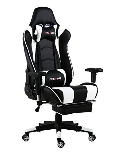 Storm Racer Gaming Stuhl PC Racing Gaming Sessel Bürostuhl Schreibtischstuhl mit Gepolsterte Fußstütze (Weiß)