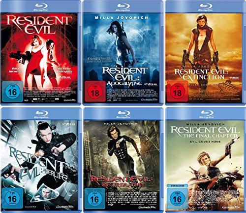 Resident Evil 1-6 komplett Set (FSK 18) - Deutsche Originalware [6 Blu-rays]
